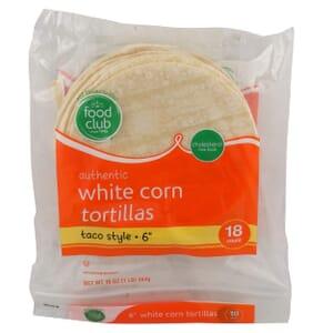 "Authentic White Corn Tortillas, Taco Style - 6"""