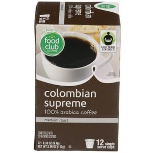 Single Cup Coffee - Colombian Supreme 100% Arabica Coffee, Medium Roast