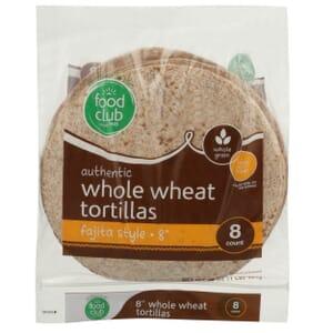 """Authentic Whole Wheat Tortillas, Fajita Style - 8"""""""