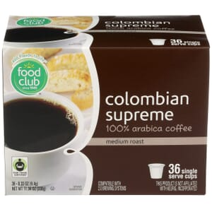 Single Cup Coffee - Colombian Supreme 100% Arabica Coffee, Medium Roast