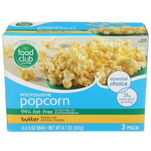 Microwave Popcorn, Butter - 94% Fat Free