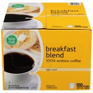 Breakfast Blend, 100% Arabica Coffee, Light Roast, Single Serve Cups