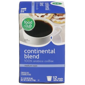 Single Cup Coffee - Continental Blend 100% Arabica Coffee, Medium Roast