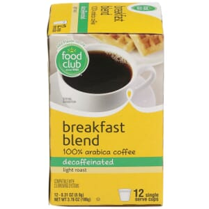Single Cup Coffee - Breakfast Blend 100% Arabica Coffee, Decaffeinated, Light Roast