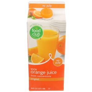 100% Orange Juice From Concentrate, Original, No Pulp