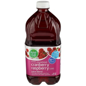 100% Unsweetened Cranberry Raspberry Flavored Juice Blend