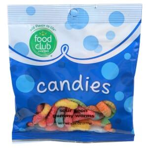 Sour Neon Gummy Worms Candies