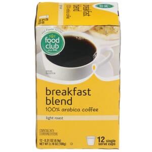 Single Cup Coffee - Breakfast Blend 100% Arabica Coffee, Light Roast