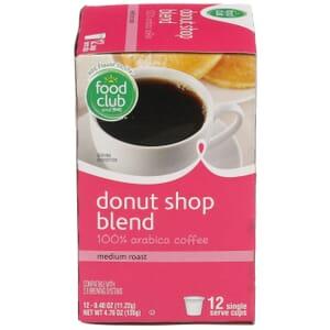 Single Cup Coffee - Donut Shop Blend 100% Arabica Coffee, Medium Roast