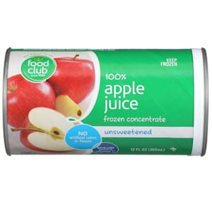 100% Apple Juice, Frozen Concentrate, Unsweetened