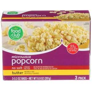 Microwave Popcorn - No Salt, Butter