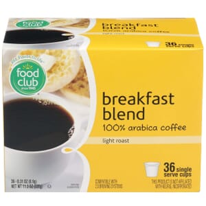 Single Cup Coffee - Breakfast Blend 100% Arabica Coffee, Light Roast