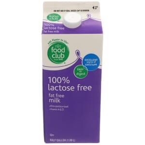 100% Lactose Free Fat Free Milk