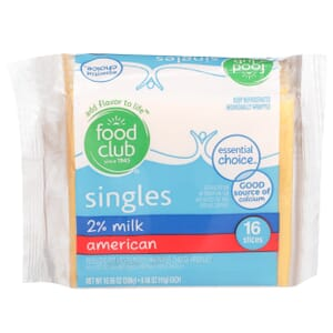 Singles, 2% Milk American Cheese