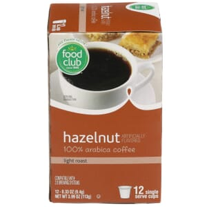 Single Cup Coffee - Hazelnut 100% Arabica Coffee, Light Roast