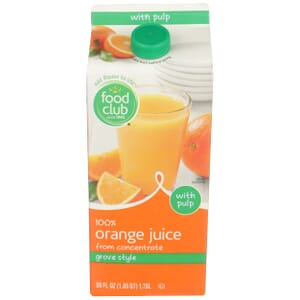 100% Orange Juice, Grove Style, With Pulp