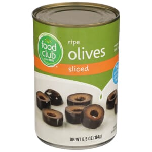 Ripe Pitted Olives, Sliced