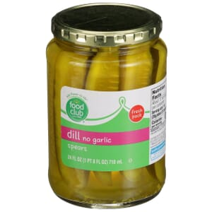 Dill No Garlic Spears Pickles