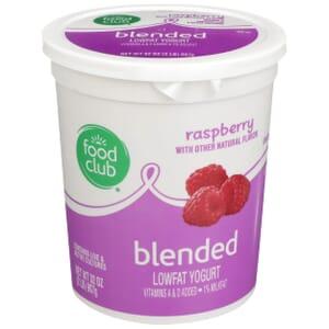 Raspberry Lowfat Yogurt, Blended