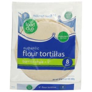 "Authentic Flour Tortillas, Burrito Style - 9"""