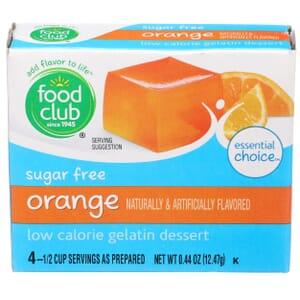 Sugar Free Orange Low Calorie Gelatin Dessert