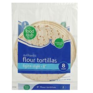 "Authentic Flour Tortillas, Fajita Style - 8"""
