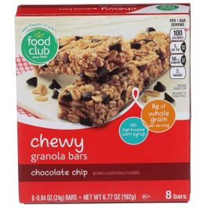 Chewy Granola Bars, Chocolate Chip