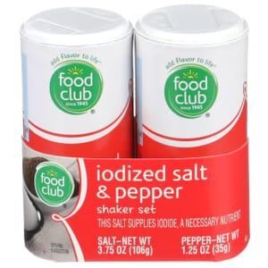 Iodized Salt & Pepper Shaker Set