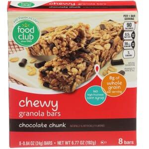 Chewy Granola Bars, Chocolate Chunk