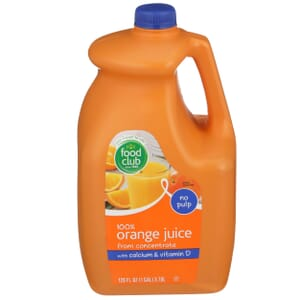 100% Orange Juice From Concentrate, With Calcium & Vitamin D, No Pulp