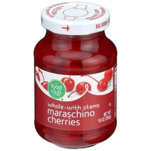 Maraschino Cherries, Whole With Stems