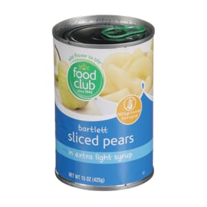 Bartlett Sliced Pears In Extra Light Syrup