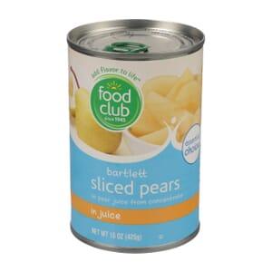 Bartlett Sliced Pears In Juice