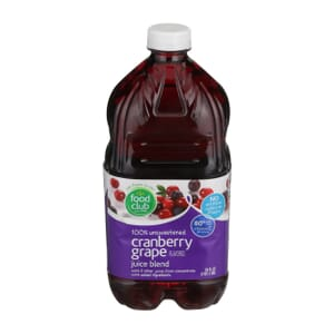 100% Unsweetened Cranberry Grape Flavored Juice Blend